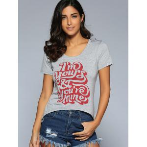 Scoop Neck Short Sleeve Letter Printed T-Shirt -