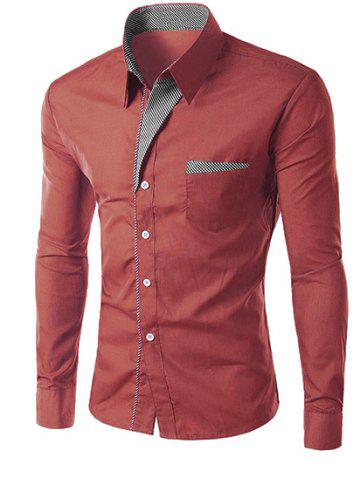 Cheap Stripe Panel Casual Long Sleeve Military Shirt CLARET M