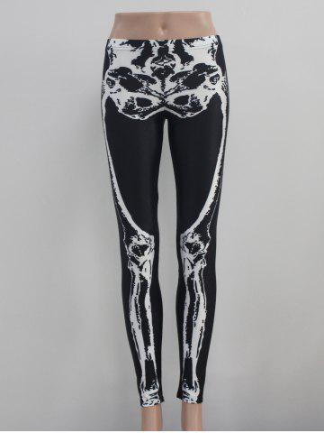 Buy Skeleton Print Elastic Hallowmas Leggings