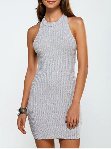 Cut Out Backless Knitted Vest Jumper Dress - Light Gray - S