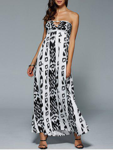 Unique Bohemian Illusion Printed Cutout Bandeau Maxi Dress