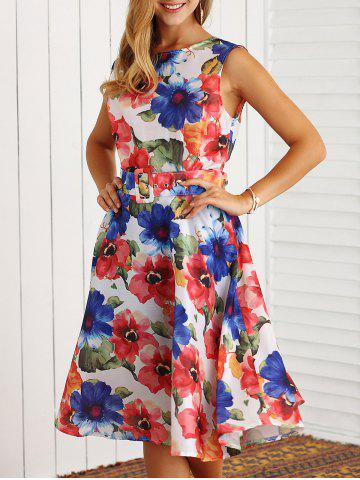 Shop Retro Sleeveless Floral Printed Flare Dress