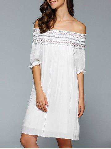 Trendy Bohemian Off The Shoulder Swing Dress