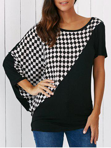 Outfits Batwing Sleeve Plaid Patchwork Blouse