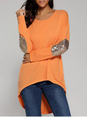 Latest Sequined Elbow High Low Hem Blouse