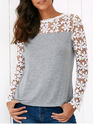 Online Lace Trim Floral Blouse - M GREY AND WHITE Mobile