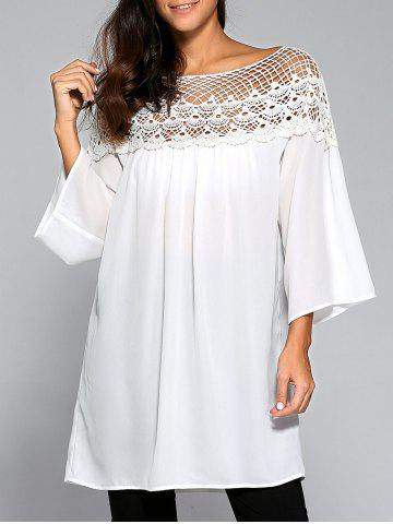 Discount Flare Sleeve Lace Splicing Smock Dress