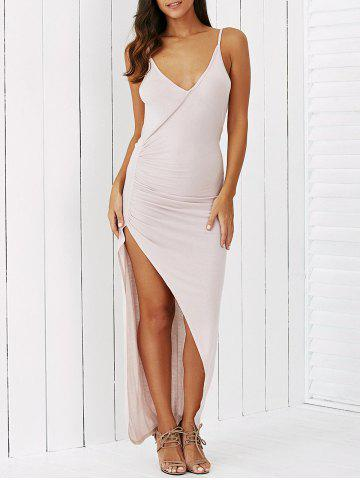 Chic Spaghetti Strap High Slit Draped Dress