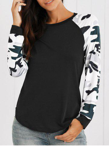 Shops Raglan Sleeves Camo Print Asymmetric T-Shirt