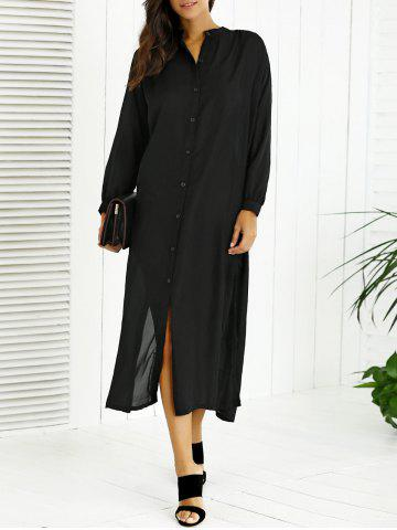 Chic Long Sleeves Buttoned Slit Shirt Dress