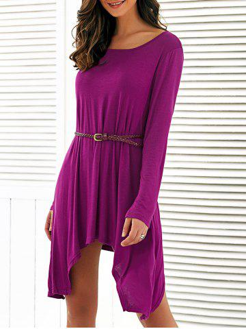 Latest Long Sleeves Asymmetrical Belted Dress