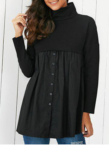 Shop Ruched Patchwork Buttoned Dress BLACK XL