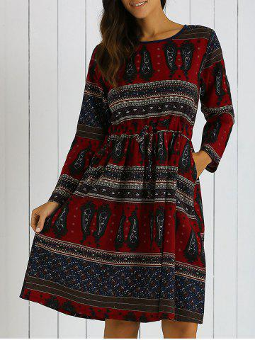 Discount Long Sleeves Pocket Tribal Print A Line Dress RED 2XL