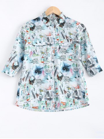 Sale Hlaf Sleeves Kitty and Letter Print Shirt