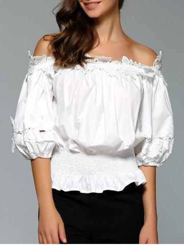 Fashion Preppy Style Lace Spliced Off The Shoulder Blouse