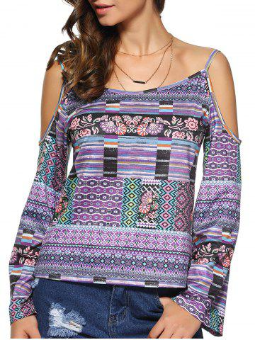 Latest Tribal Print Open Shoulder Long Sleeve Blouse