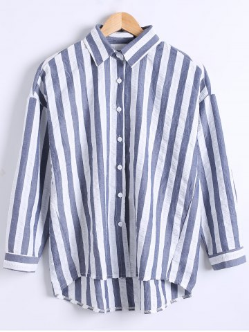 Affordable Loose Fitted  Vertical Stripe High Low Shirt