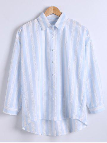 Chic Loose Fitted  Vertical Stripe High Low Shirt