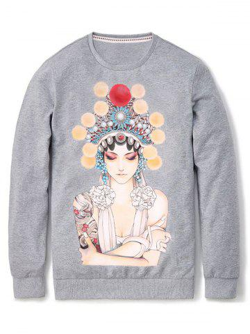 Shop Peking Opera Figure Print Crew Neck Pullover Sweatshirt