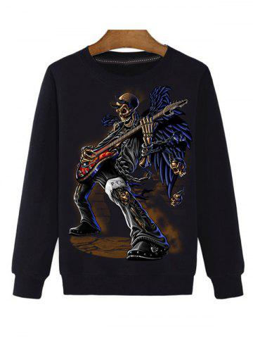 Shops Guitar Skeleton 3D Print Round Neck Long Sleeve Sweatshirt