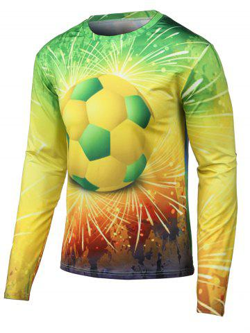 Chic Round Neck Long Sleeves 3D Football Print T-Shirt YELLOW XL
