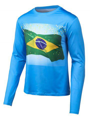 Unique Round Neck Long Sleeves Flag Print T-Shirt BLUE 4XL
