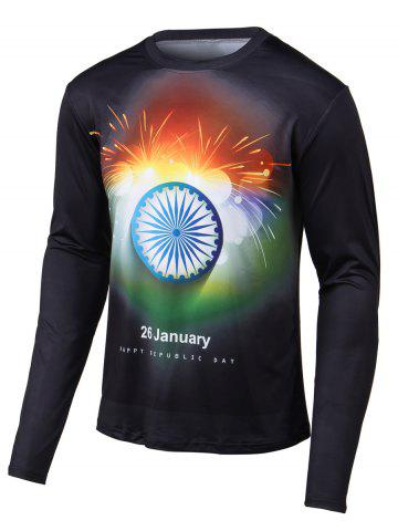 New Fireworks Print Long Sleeves Round Neck T-Shirt BLACK 4XL