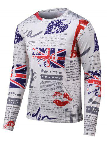 Latest Leaf Print Dotted Long Sleeves Round Neck T-Shirt