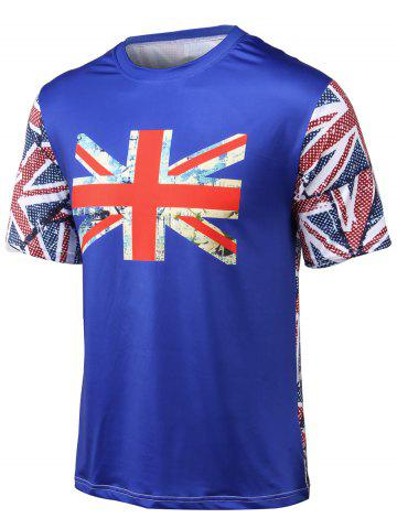 Shops Flag Printed Round Neck Short Sleeve T-Shirt BLUE 4XL