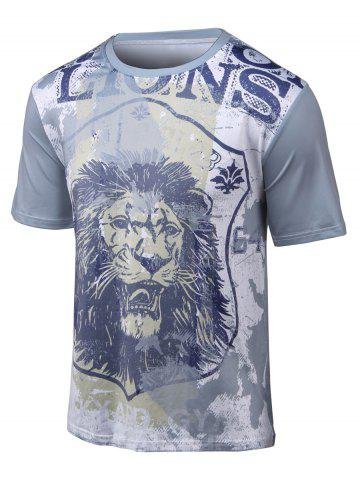Buy 3D Lion Print Round Neck Short Sleeve T-Shirt