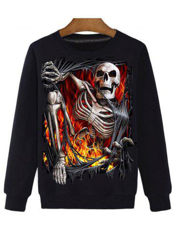 Trendy 3D Skull Print Round Neck Long Sleeve Sweatshirt BLACK 3XL