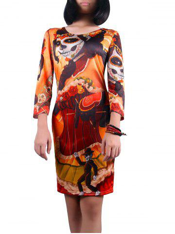 Outfits Scoop Neck Halloween Ghost Print Dress