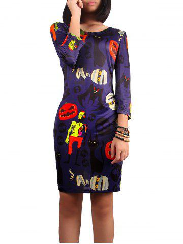 Hot Halloween Ghost Print Dress PURPLE XL