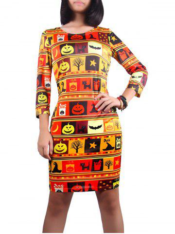 Store 3/4 Sleeve Halloween Pumpkin Lantern Print Dress