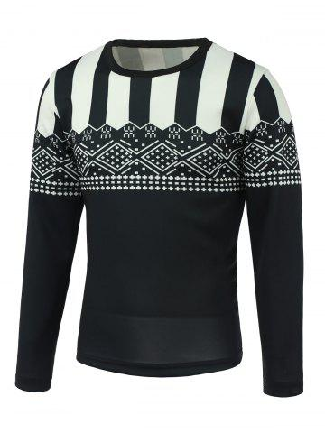 Geometric and Stripe Print Round Neck Long Sleeve Sweatshirt