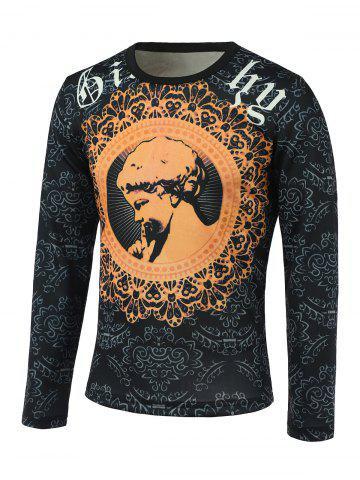 Cheap Floral and Figure Print Round Neck Long Sleeve Sweatshirt COLORMIX 3XL