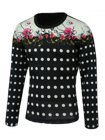 Store Floral and Polka Dot Print Splicing Design Round Neck Long Sleeve Sweatshirt COLORMIX 3XL