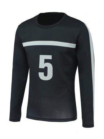 Affordable Number Five and Stripe Print Round Neck Long Sleeve Sweatshirt