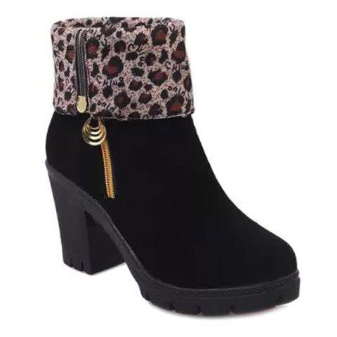 Fancy Platform Flock Zipper Boots