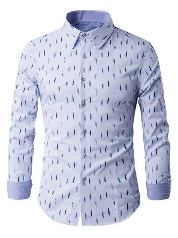 New Long Sleeve Anti-Wrinkle Design Printed Shirt LIGHT BLUE 3XL