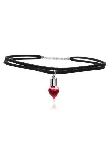 New Layered Faux Leather Blood Halloween Necklace BLACK