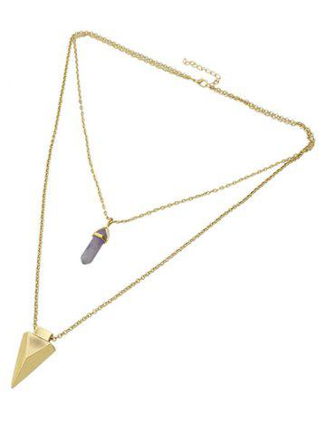 Chic Layered Faux Gem Triangle Pendant Necklace GOLDEN