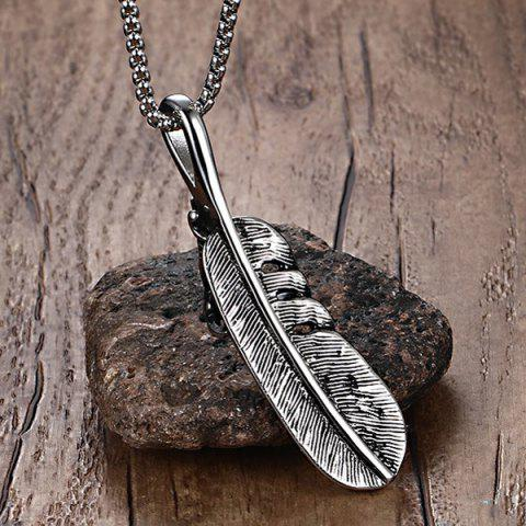 Cheap Alloy Eagle Claw Feather Pendant Necklace - SILVER  Mobile