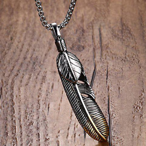 Cheap Alloy Feather Leaf Pendant Necklace - SILVER  Mobile