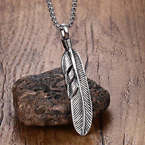 New Alloy Feather Leaf Pendant Necklace - SILVER  Mobile