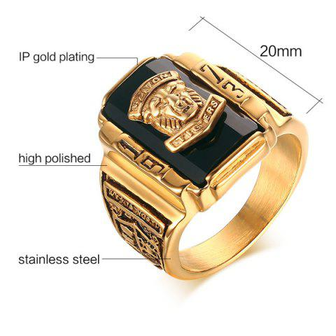Affordable Alloy Geometric Tiger Head Emboss Ring - 9 BLACK Mobile