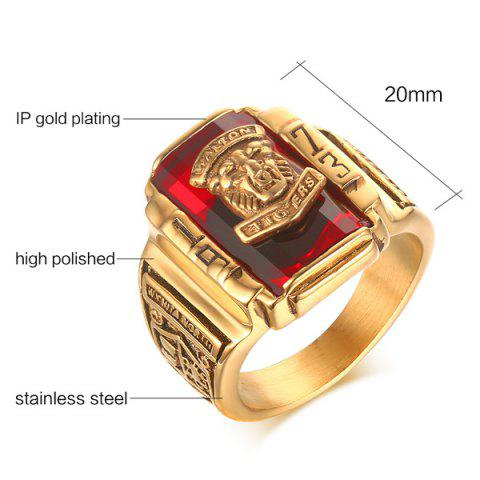 Affordable Faux Ruby Geometric Tiger Head Emboss Ring - 10 RED Mobile