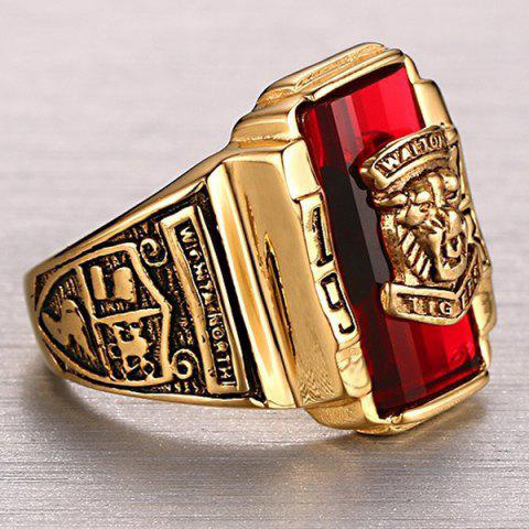 Chic Faux Ruby Geometric Tiger Head Emboss Ring - 10 RED Mobile