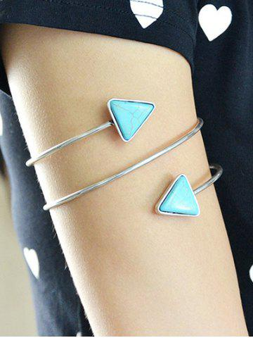 Chic Faux Turquoise Triangle Arm Chain Jewelry - SILVER  Mobile
