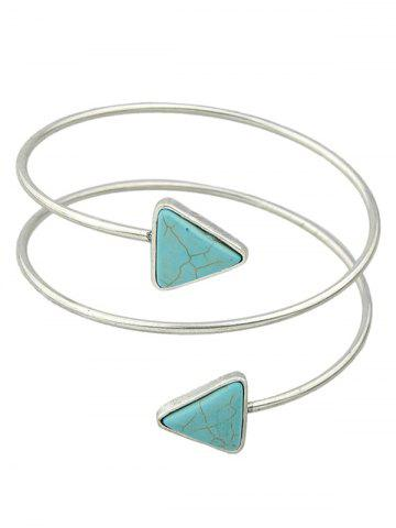 Discount Faux Turquoise Triangle Arm Chain Jewelry - SILVER  Mobile